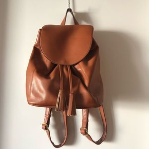 Old Navy Vegan Leather Backpack, Cognac Brown